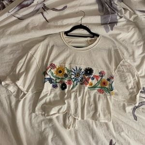 Few People tie back embroidered t shirt